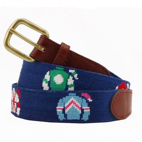 Jockey Silks Needlepoint Belt on Navy by Smathers & Branson