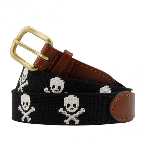 Jolly Roger Needlepoint Belt on Black by Smathers & Branson
