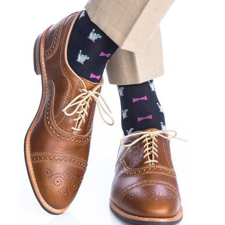 Navy With Pink Bow Tie and Mint Julep Mid-Calf Socks by Dapper Classics