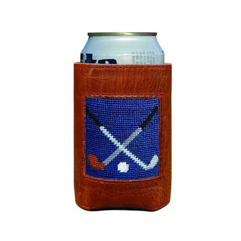 Crossed Clubs Needlepoint Can Cooler by Smathers & Branson