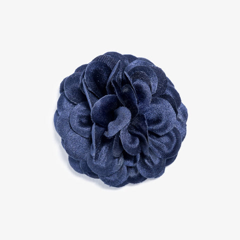 Navy Large Lapel Flower by Hook & Albert