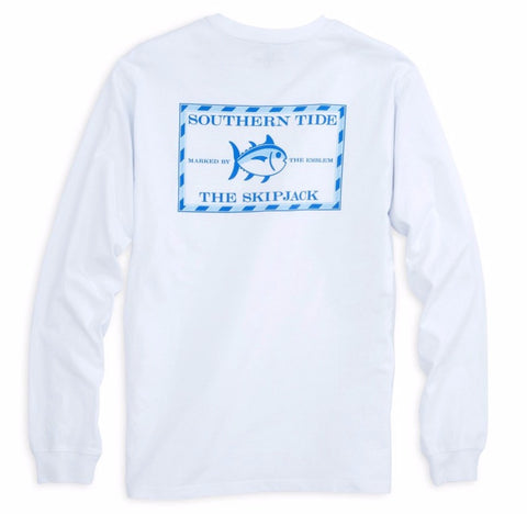 Long Sleeve Original Skipjack T-Shirt in Classic White by Southern Tide