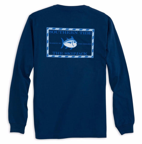 Long Sleeve Original Skipjack T-Shirt in Yacht Blue by Southern Tide