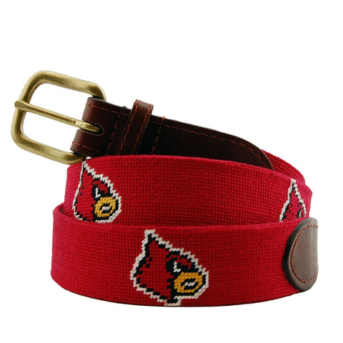 Louisville Cardinals Needlepoint Belt on Red by Smathers & Branson