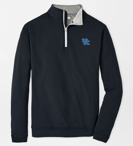 Kentucky UK Text Perth Stretch Loop Terry Quarter-Zip in Black by Peter Millar