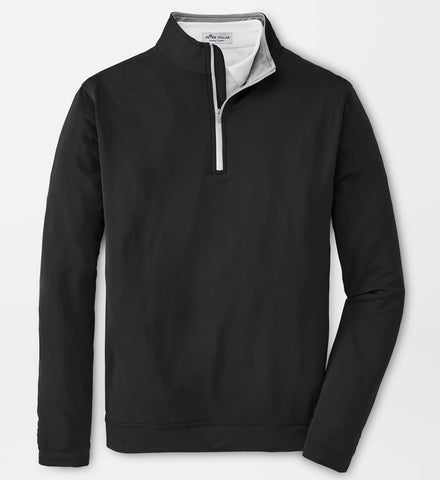 Perth Stretch Loop Terry Quarter-Zip in Black by Peter Millar
