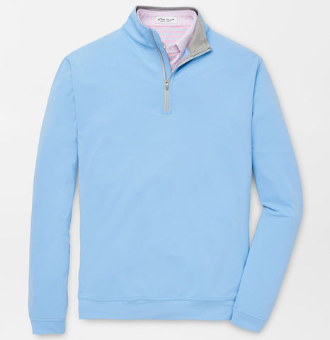 Perth Stretch Loop Terry Quarter-Zip in Cottage Blue by Peter Millar
