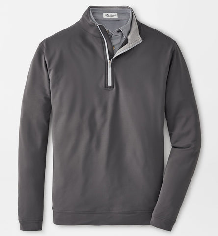 Perth Stretch Loop Terry Quarter-Zip in Iron by Peter Millar