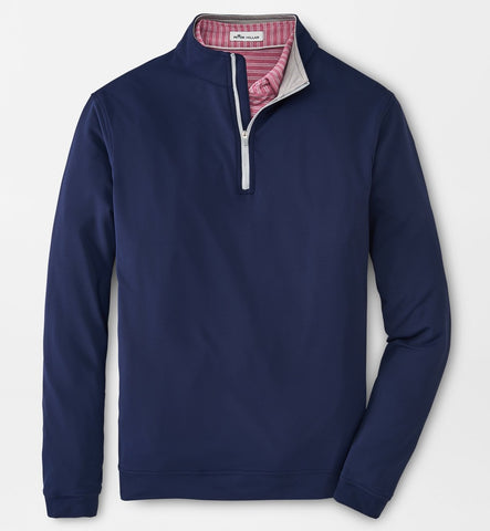 Perth Stretch Loop Terry Quarter-Zip in Navy by Peter Millar