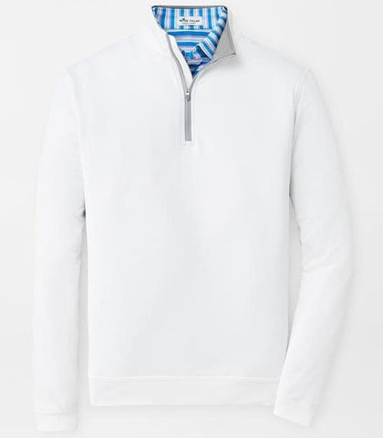 Perth Stretch Loop Terry Quarter-Zip in White by Peter Millar