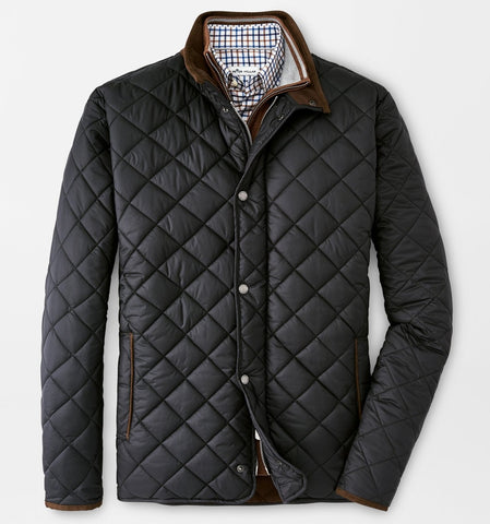 Suffolk Quilted Travel Coat in Black by Peter Millar