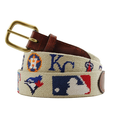 MLB American League Needlepoint Belt on Khaki by Smathers & Branson