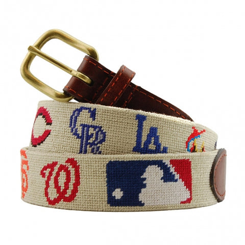MLB National League Needlepoint Belt on Khaki by Smathers & Branson