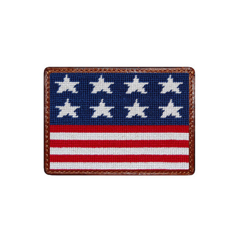 Old Glory Needlepoint Card Wallet by Smathers & Branson