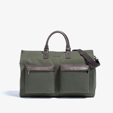 Men's Twill Garment Weekender Bag in Olive by Hook & Albert