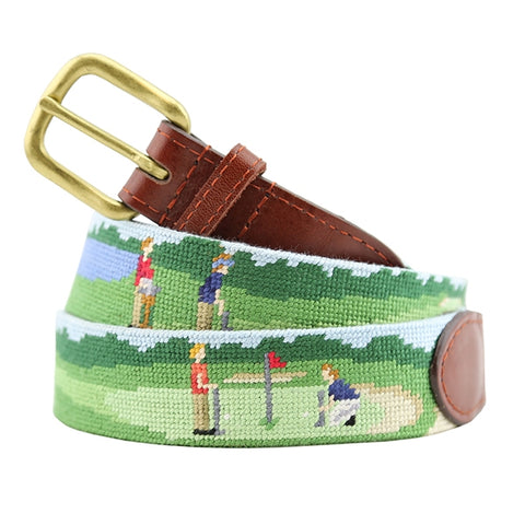On The Links Needlepoint Belt by Smathers & Branson