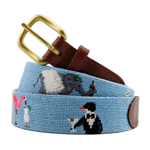 Party Animals Needlepoint Belt on Light Blue by Smathers & Branson