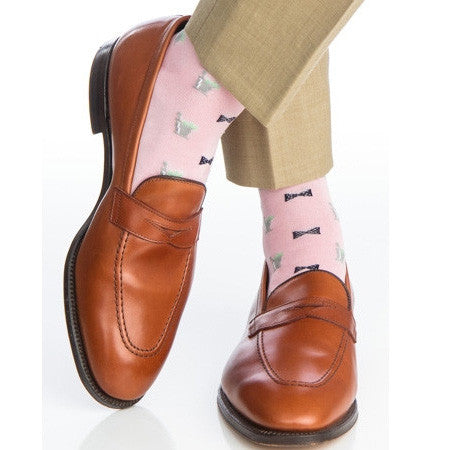 Pink With Navy Bow Tie and Mint Julep Over The Calf Socks by Dapper Classics