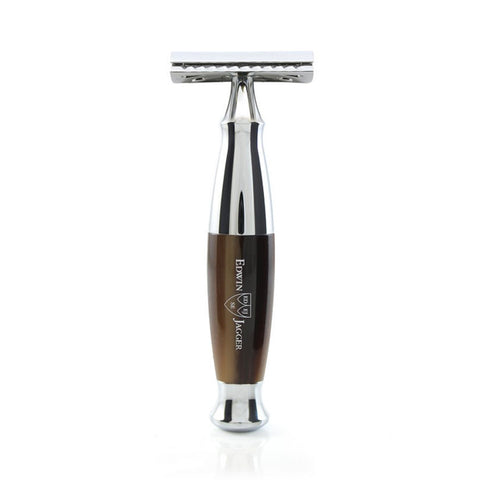 DE Safety Razor in Imitation Horn and Chrome by Edwin Jagger