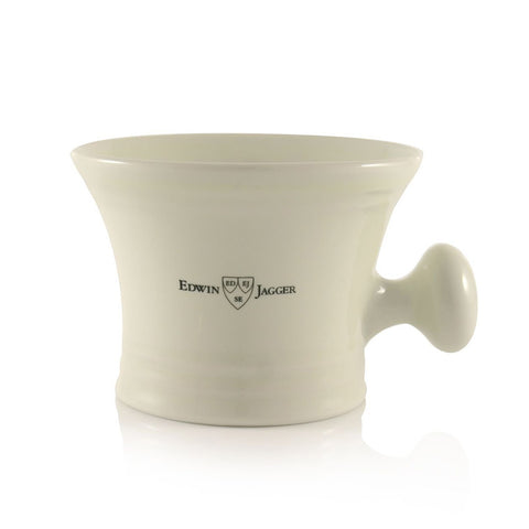 Porcelain Shaving Bowl with Handle in Ivory by Edwin Jagger