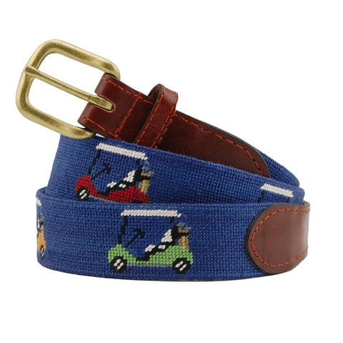 Rainbow Golf Carts Needlepoint Belt on Navy by Smathers & Branson