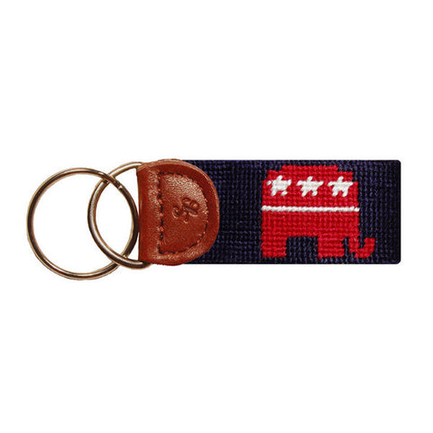 Republican Needlepoint Key Fob in Navy by Smathers & Branson