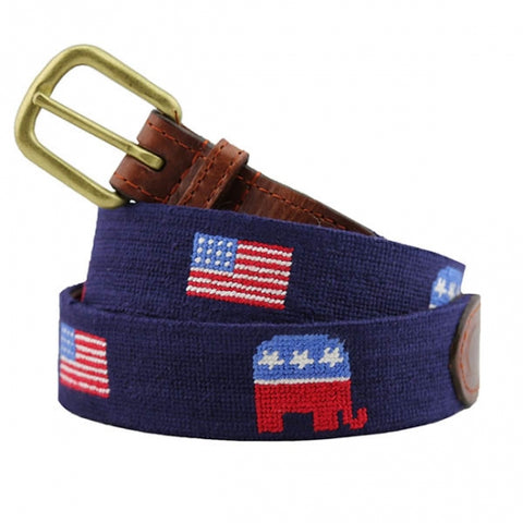 Republican Needlepoint Belt on Navy by Smathers & Branson