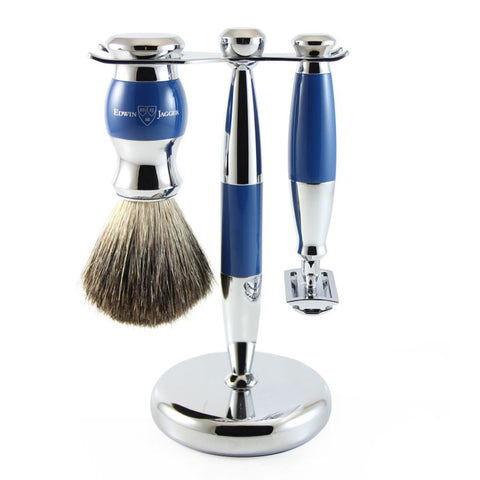 3 Piece Shaving Set (DE) in Blue & Chrome by Edwin Jagger