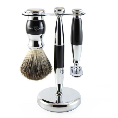 3 Piece Shaving Set (DE) in Black & Chrome by Edwin Jagger