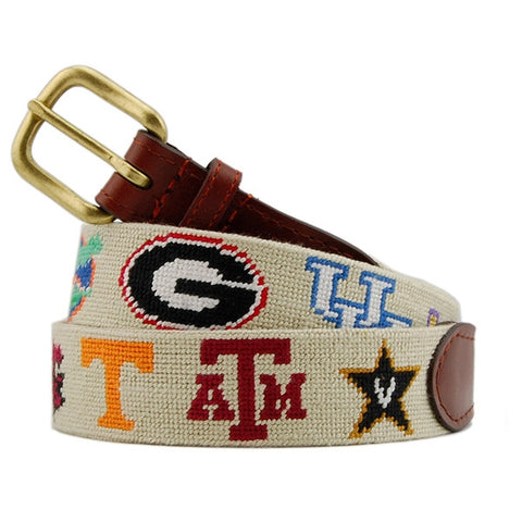 SEC Needlepoint Belt on Khaki by Smathers & Branson