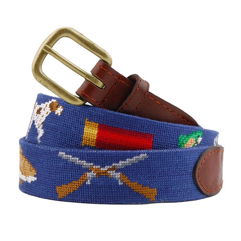 Southern Sportsman Needlepoint Belt on Classic Navy by Smathers & Branson