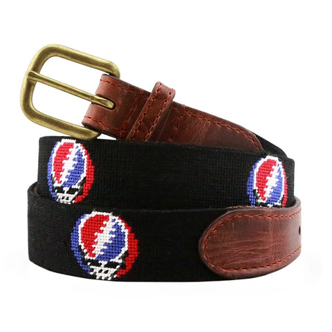 Steal Your Face Needlepoint Belt on Black by Smathers & Branson