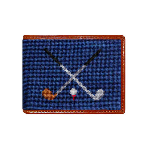 Crossed Clubs Needlepoint Wallet by Smathers & Branson