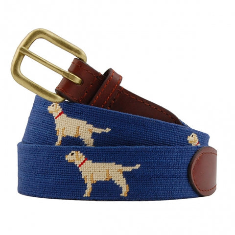 Yellow Lab Needlepoint Belt on Blue by Smathers & Branson