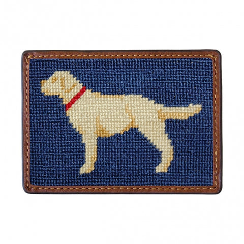 Yellow Lab Needlepoint Card Wallet in Navy by Smathers & Branson