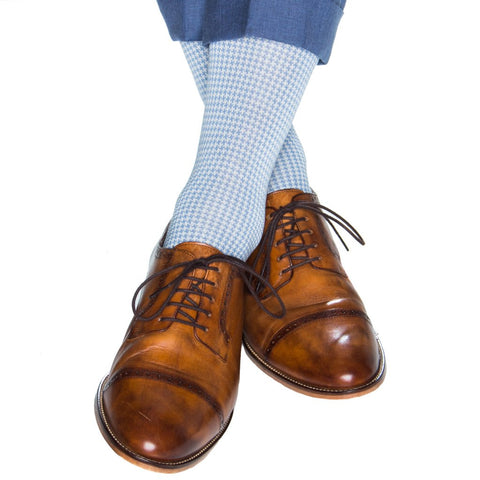 Azure Blue With Cream Houndstooth Mid Calf Socks by Dapper Classics