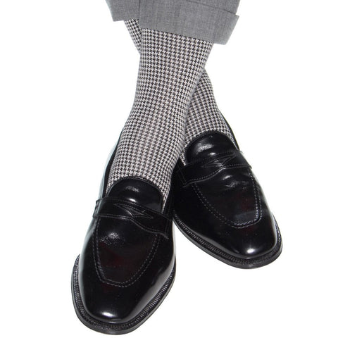 Black and Ash Houndstooth Mid Calf Socks by Dapper Classics
