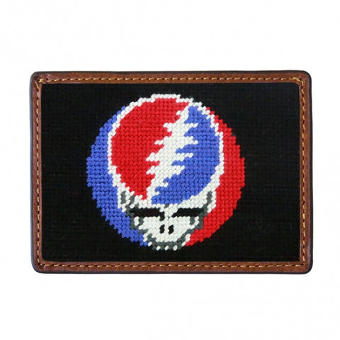 Steal Your Face Needlepoint Card Wallet in Black by Smathers & Branson