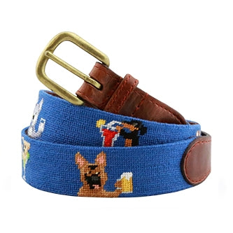 Booze Hounds Needlepoint Belt on Blueberry by Smathers & Branson