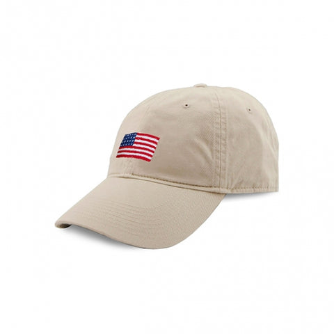 35fbec1282f81 American Flag Needlepoint Hat in Stone by Smathers   Branson