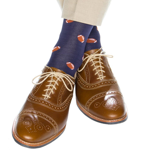 Classic Navy With Burnt Orange Football Mid Calf Socks by Dapper Classics