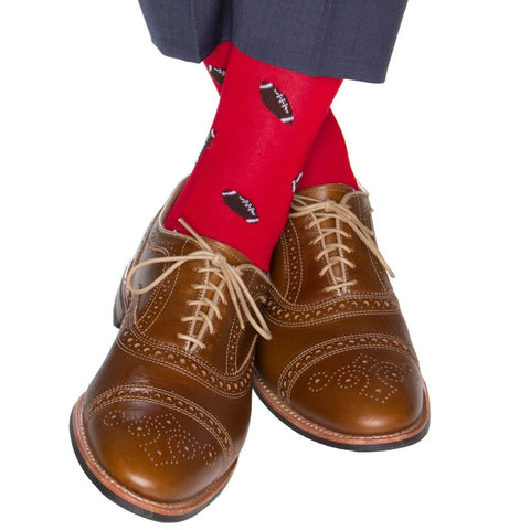 Red With Coffee Brown Football Mid Calf Socks by Dapper Classics