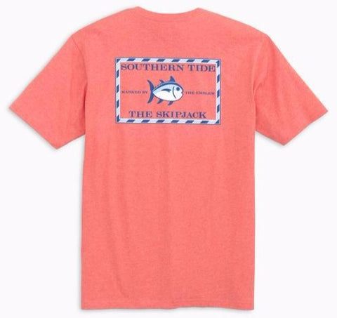 Heathered Original Skipjack T-Shirt in Heathered Coral by Southern Tide