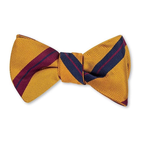 Gold Oberlin Stripes Bow Tie by R. Hanauer
