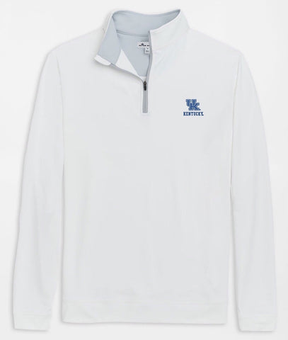 Kentucky UK Text Perth Stretch Loop Terry Quarter-Zip in White by Peter Millar