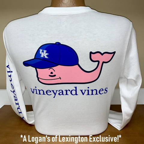 Kentucky Wildcats Ball Cap Whale Long Sleeve Tee in White Cap by Vineyard Vines