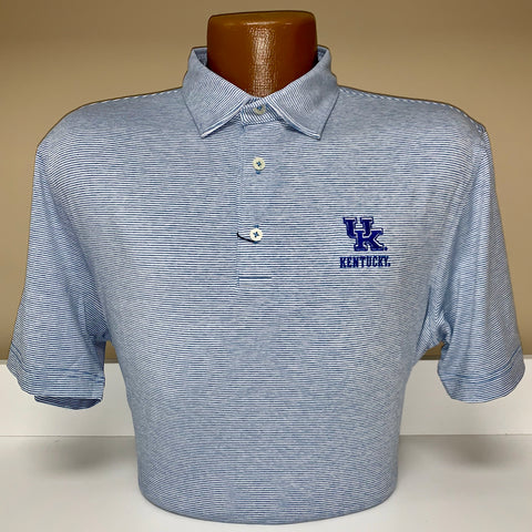 University of Kentucky Lyndon Striped PREP-FORMANCE Jersey Polo in Neptune by Johnnie-O