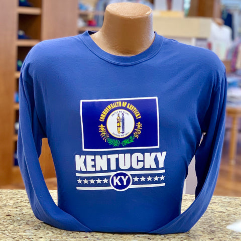 Kentucky State Flag Long Sleeve Tee in Blue by Logan's