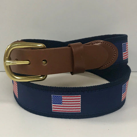 American Flag Motif Belt on Navy by Leather Man Ltd.