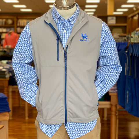 University of Kentucky Crest 2-Way Zip Front Wind Vest in 2 Colors by Johnnie-O